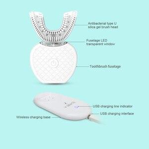 Image 3 - 360 gradi Automatico Spazzolino Da Denti Elettrico Ricaricabile Sonic Spazzolino Dentale USB Del Silicone Teste della Spazzola Igiene Orale Intelligente U TIPO