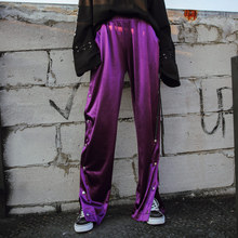 TREND-Setter 2018 Summer Casual Loose Wide Leg Pants Women Silk Purple High Waist Trousers Hip Hop Style Long Pants Ladies