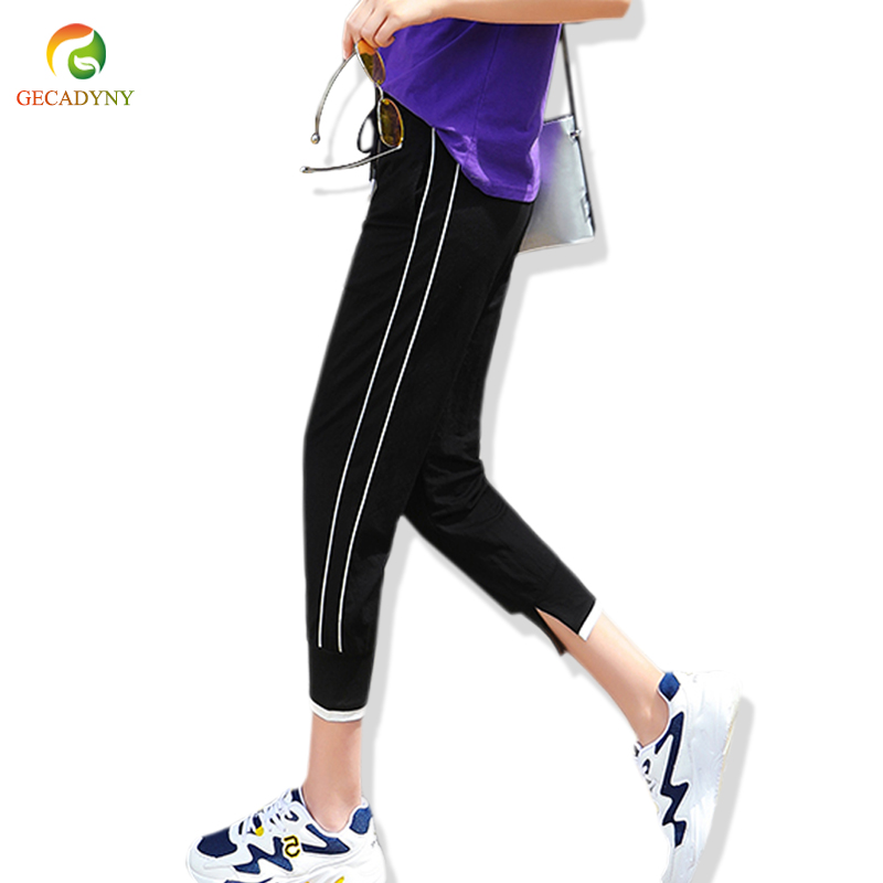 Harem Trousers Women Calf Length Elastic Waist Drawstring Casual Women   Pants   Trousers Side Striped Split   Pants     Capris   Female 3XL