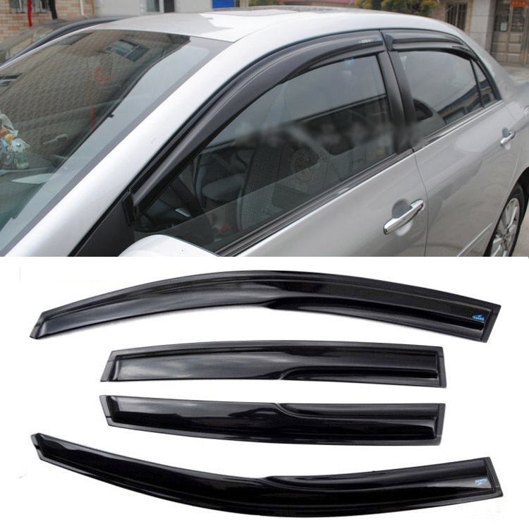 Jinke 4pcs Windows Vent Visors Rain Guard Dark Sun Shield Deflectors For Toyota Corolla 2011 4pcs for toyota corolla 2014 2015 sun rain shield covers car awnings