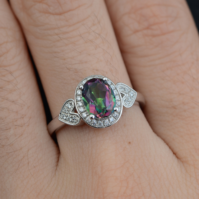 Leige Jewelry 925 Sterling Silver  Mystic Topaz Ring Oval Cut  Fine Jewelry Rainbow Fire