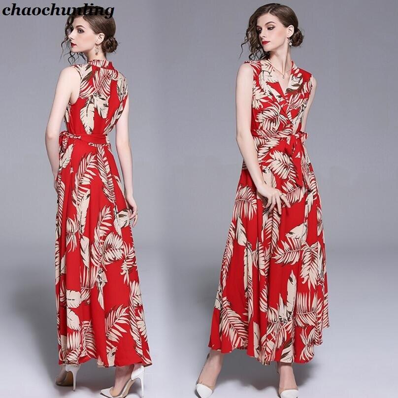 Sans V Femmes Lady Mousseline Femme Américain De Col Taille Haute Européen Et Manches Robe Fleurs 2019 Red Impression Soie Nouveau En z15qwxA8x