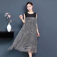 1e8f3e16e2633 Casual Vintage kolsuz Elbise Moda Kadınlar yaz elbisesi siyah Baskılı Ipek  Zarif Şifon Elbise artı boyutu bayanlar elbiseler
