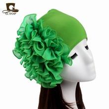 2017 New fashion Womens chiffon Flower Chemo Beanie Hat turban Cap for Cancer Hairband Bride chest flower multifunction headwear