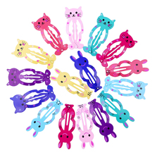 16pcs 5cm Cute Hair Clips for Kid Snap Clip Pins Cat Rabbit BB Hairpin Animal Shape Color Barrettes Baby Children Girls