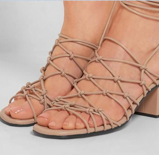 9ea0291565f SWEET Ankle Strappy Knotted Leather Sandals Gladiator Chunky Heels Lace Up  Casual Cut Outs Women Cage shoes-in Women s Sandals from Shoes on  Aliexpress.com ...
