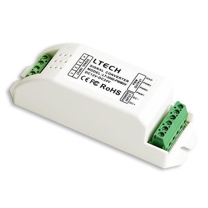 Entrée de LED de convertisseur de Signal de gradation de DC12V-24V LTECH; sortie 5 V 10 V 0-10 V 3CH compatible avec le Module PWM de puissance CV/CC et le Module PWM de Signal