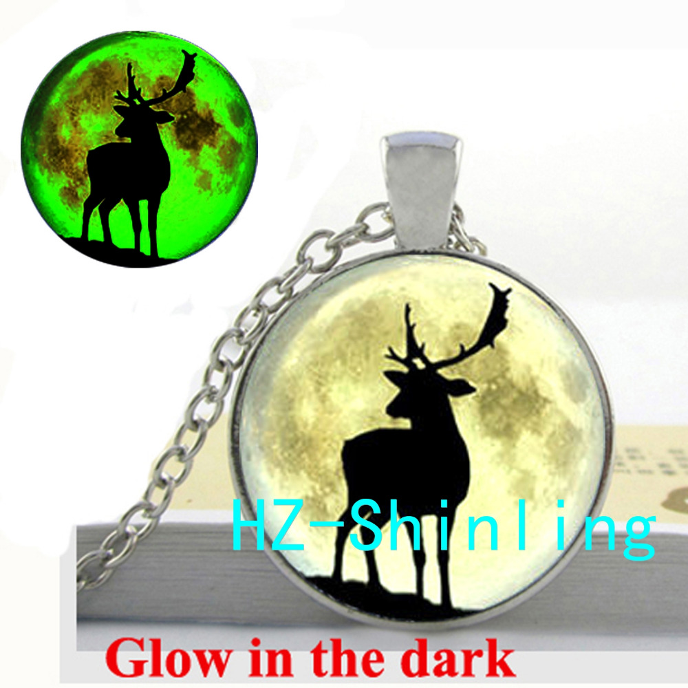 Deer and the Moon Glowing Necklace Deer and the Moon Pendant Glow in The Dark Jewelry Glass Cabochon Pendant
