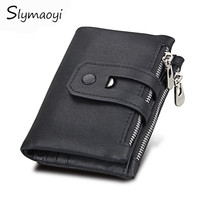 Slymaoyi Genuine Leather Men Wallet Small Men Walet Zipper Hasp Male Portomonee Short Coin Purse Brand
