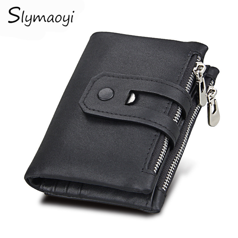 Slymaoyi Genuine Leather Men Wallet Small Men Walet Zipper&Hasp Male Portomonee Short Coin Purse Brand Perse Carteira For Rfid kavis genuine leather long wallet men coin purse male clutch walet portomonee rfid portfolio fashion money bag handy and perse