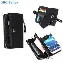 2015 Hot Newes!!Classic zipper wallet holster Combo High-quality PU Flip Cover case For Samsung Galaxy S4 SJ1368