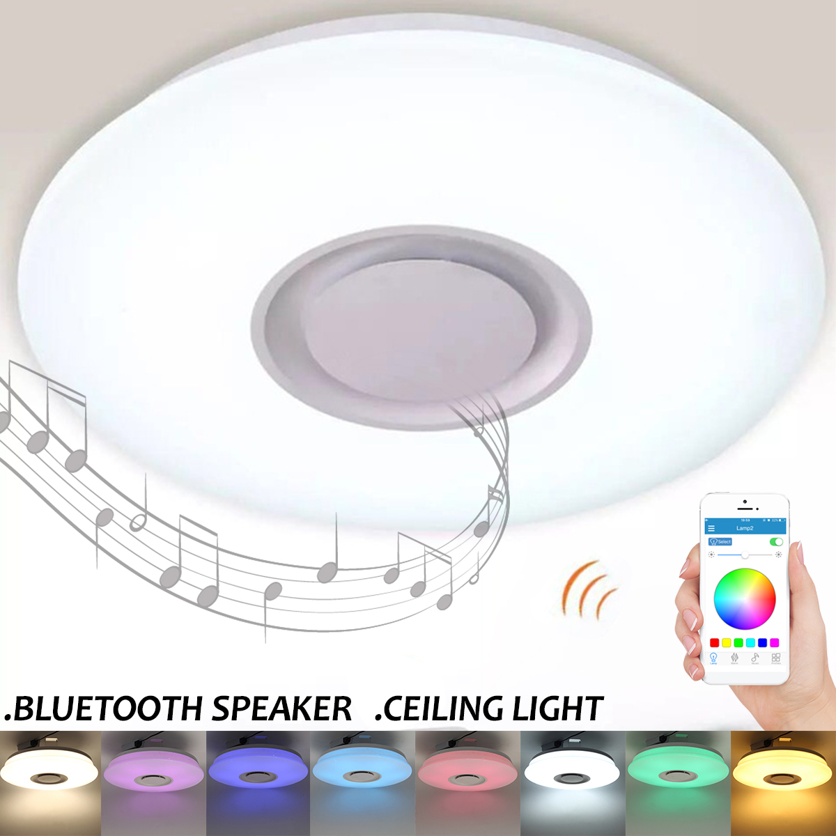 36W Dimmable RGB LED Ceiling Light with Bluetooth Speaker Music LED Ceiling Lamp Phone APP Smart Remote Control for Living Room