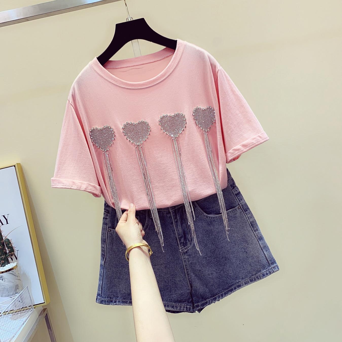 New Love Pattern Summer T-shirt Girls2019 Drill Chain Short-sleeve Candy Color T-shirts Women