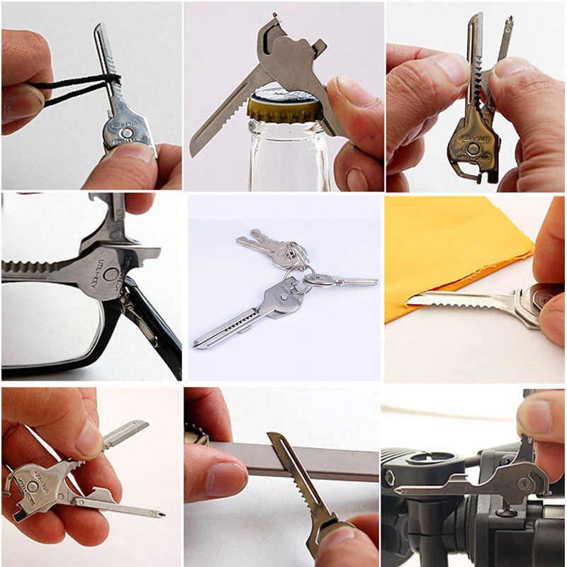 Hoge kwaliteit outdoor multifunctionele draagbare sleutelhanger thuis reizen tool 6 in 1 fold mini tang schroevendraaier saw set tool