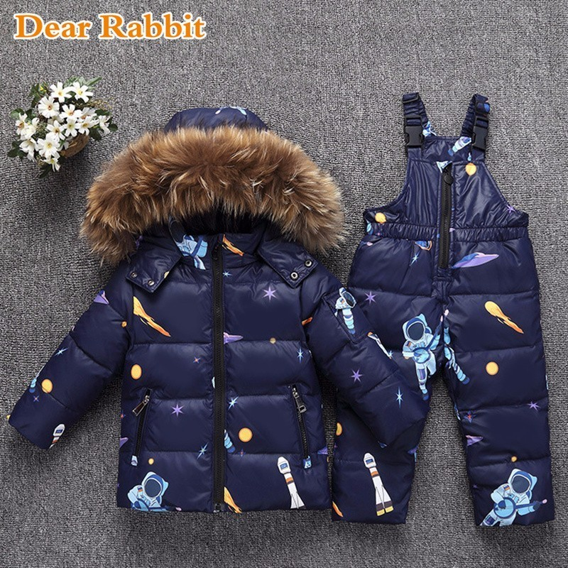 2018 Winter Heat Down Jacket For Child Lady Garments Baby Clothes Units Boys Parka Actual Fur Coat Youngsters Snow Put on Toddler Overcoat