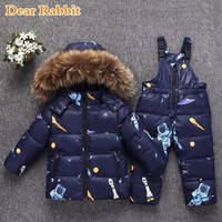 2019 Winter warm down jacket for baby girl clothes child clothing sets boys parka real fur coat kids snow wear infant overcoat