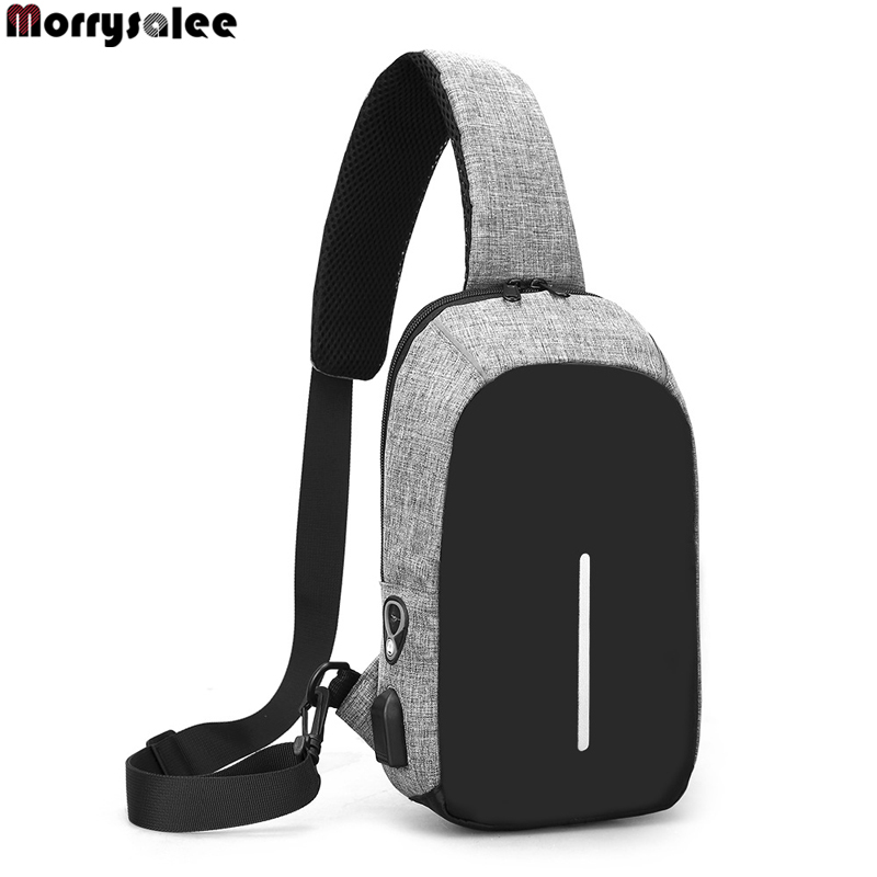 USB Charging Shoulder Crossbody Bag Stealth Zipper Business Chest Pack Repellent Anti-Theft Package