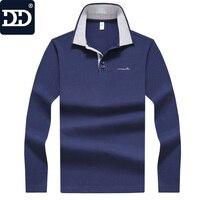 2017 Dingdi Turn Down Collar Type T Shirt Men Long Sleeve Solid T Shirts Men Elastic
