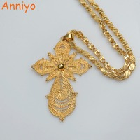 Anniyo Ethiopian Gold Color Big Cross Pendant Ethnic Necklaces For Women Men With Ethiopian Chain Eritrea