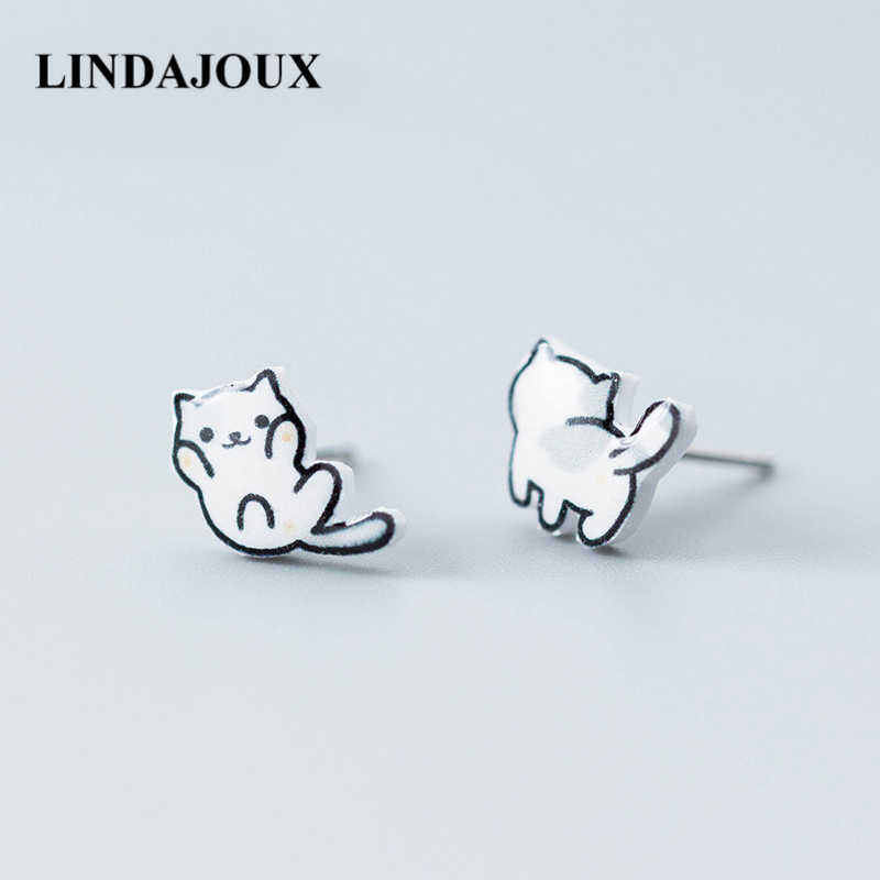 Real 925 Sterling Silver Cute Playing Cat Stud Earrings For Women sterling-silver-jewelry Drop Ship