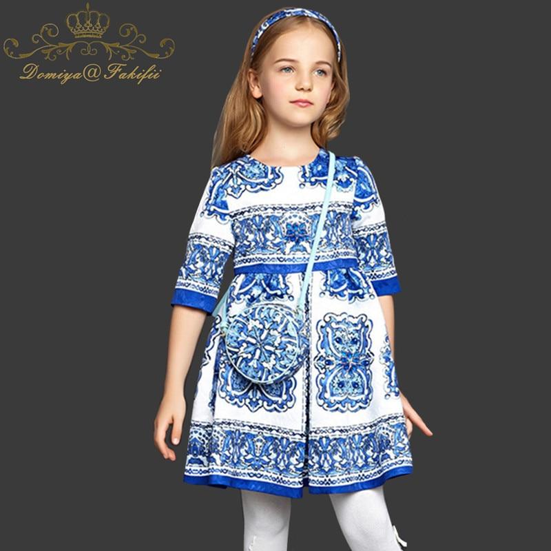 Domiya&Fakifii Girls Dress 2018 Brand Winter Princess Long Sleeve Majolica Design for Girls Clothes Party Dress 2-14Y Clothes domiya&fakifii girls dresses 2018 new brand princess girl clothes bowknot sleeveless party dress girls clothes for 2 10 years