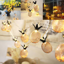Vintage Eisen Ananas led-leuchten Leds String Lampe 10 M 220 V Batterie Powered USB Laterne Romantische Hochzeit Dekoration warme weiß(China)