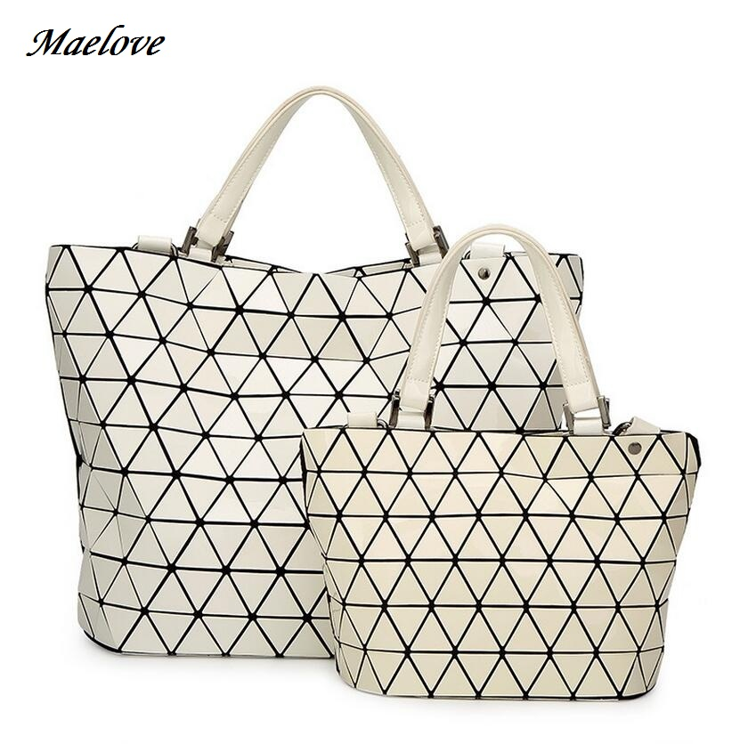 bae9218fccce Maelove 2017 New Women handbag Geometry Sequins Mirror Plain Folding Bags  casual Totes famous logo Free