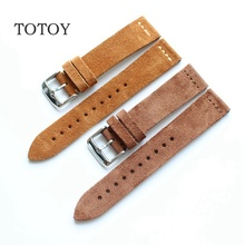 TOTOY Soft Leather Watch band, 16 18 19 20 21 22 Retro Genuine Leather Watch Strap,Brown Yellow Gray Black Turn fur Leather Band