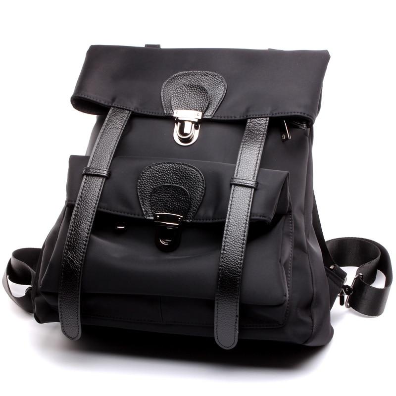 ФОТО Lady Fashion Waterproof Nylon Oxford Backpacks Famous Designer Casual Book Bag Black Daypack Teenager School Bag Girls Rucksack