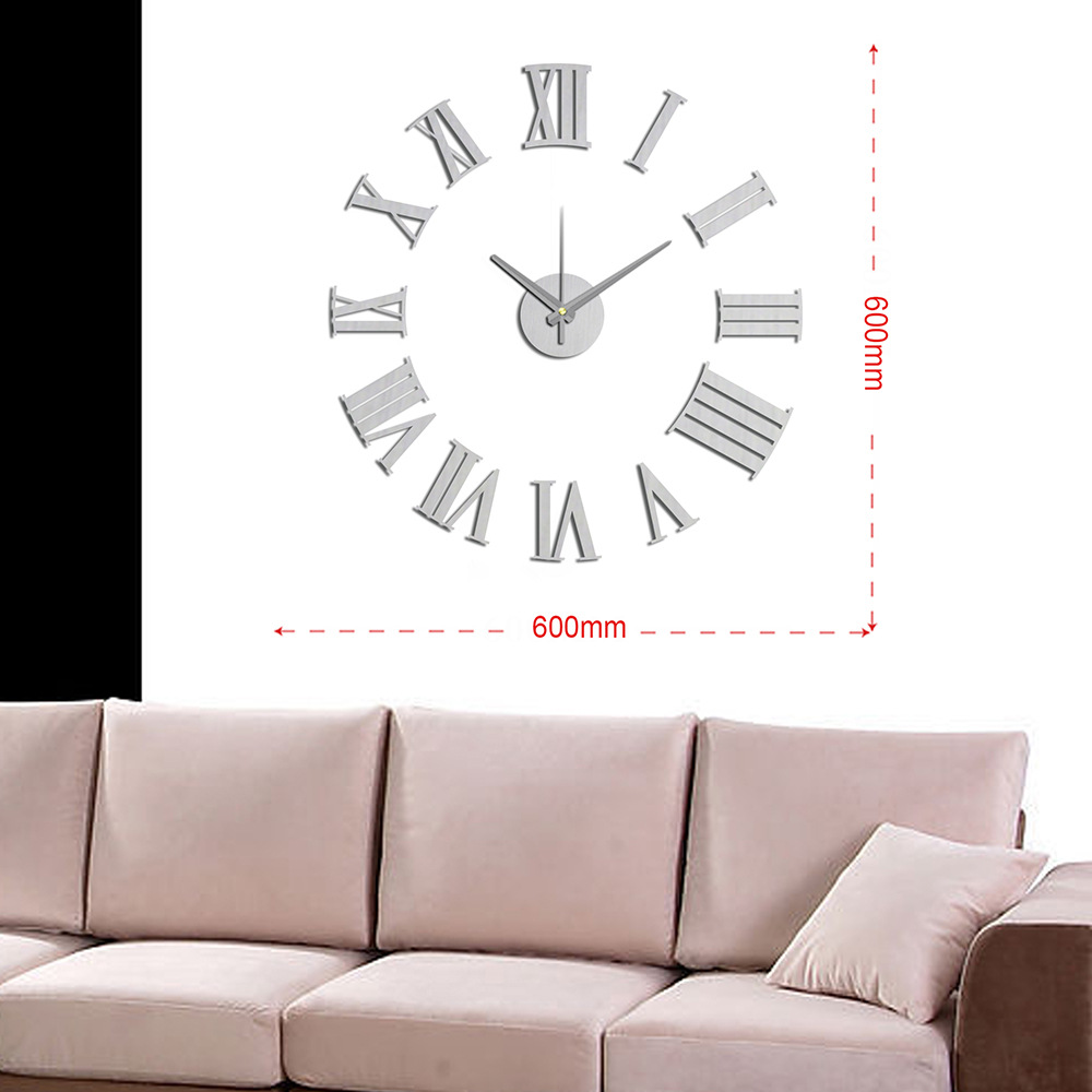 Modern Wall Clock Design Wanduhr Wandklok Diy Relojes Pared Self Adhesive  Home Decor Pared Relogio Parede Watch 3D Rome Silver In Wall Clocks From  Home ...