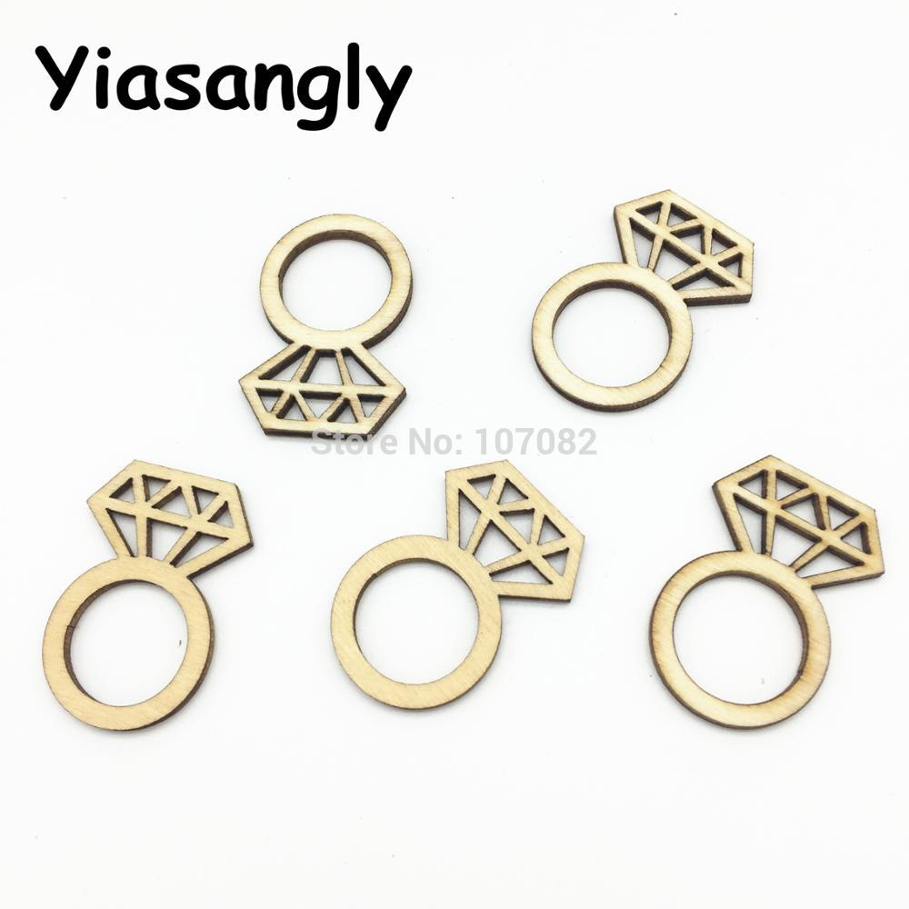 100PCS 22x33mm Diamond Ring Wood Table Decorations Confetti Wedding ...
