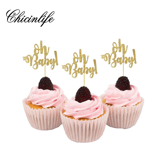 Chicinlife 10Pc Oh Baby First Birthday Cupcake Toppers Boy Girl Happy Kids Shower Table