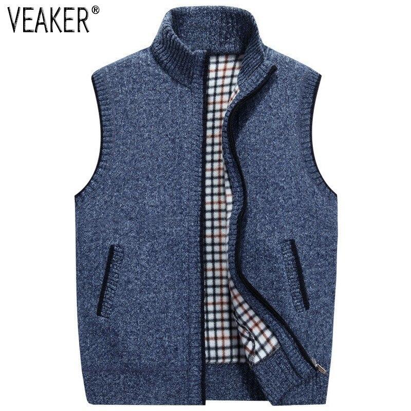 Coat Sweaters Winter Jacket Vest Knitted Wool Fleece Male Autumn Men's Plus-Size Sleeveless