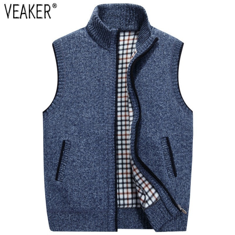 2019 Autumn Winter Men's Wool Sweaters Vest Coat Male Sleeveless Knitted Vest Jacket Solid Fleece Sweatercoat Plus Size 3XL