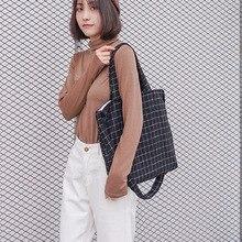 лучшая цена Large-capacity plaid cord corduroy handbag ladies casual shoulder bag multi-purpose shopping bag