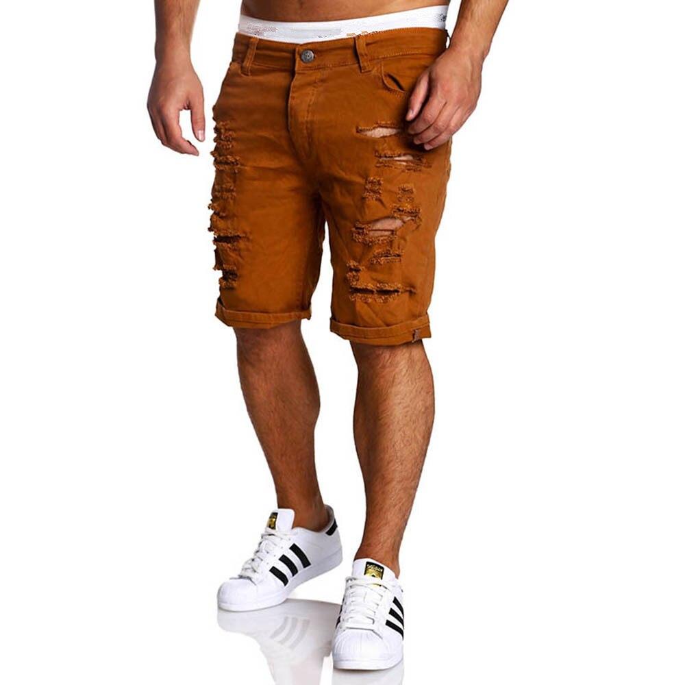Black Ripped Jeans Men 2018 Brand Short Biker Denim Jeans Summer Casual Slim Fit Water Washed Cotton Straight Men Short Jeans