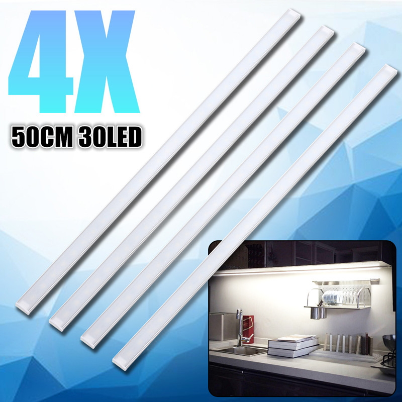 CLAITE 4Pcs 50CM 5730SMD 30 LED Bar Light 1000LM 10W LED Strip Light Kit for Under Kitchen Cupboard Cabinet LampCLAITE 4Pcs 50CM 5730SMD 30 LED Bar Light 1000LM 10W LED Strip Light Kit for Under Kitchen Cupboard Cabinet Lamp
