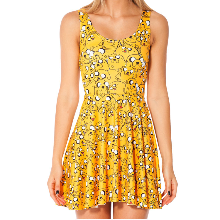 e3676638039ac Fashion 1002 Sexy Girl Women Summer Adventure Time jack the dog 3D Prints  Reversible Sleeveless Skater Pleated Dress-in Dresses from Women's Clothing  ...