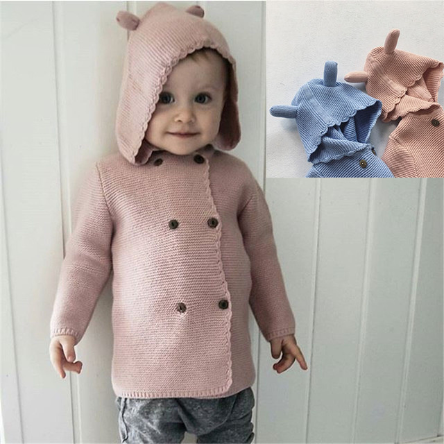 INS hot 2017 spring BABY BOY CLOTHES BABY GIRL CLOTHES children's clothing SWEATERS cardigan ear top handmade cotton KIKIKIDS
