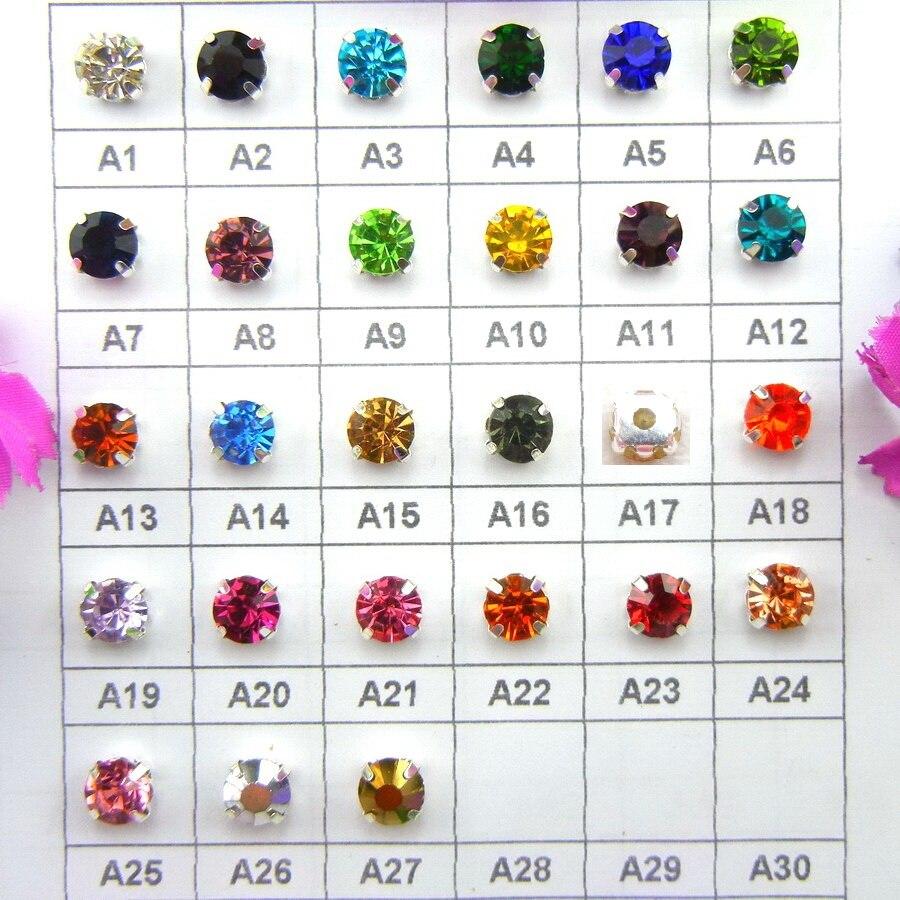 Cristal de vidro colorido garra de prata configuração 3mm 4mm 5mm 6mm 7mm 8mm cores agradáveis costurar em strass grânulos sacos vestido de casamento diy