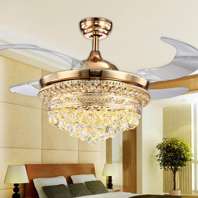42 Inch Ceiling Fans Promoting Natural Ventilation Invisible Luxury Crystal Dimmable Chandelier Controlled By The