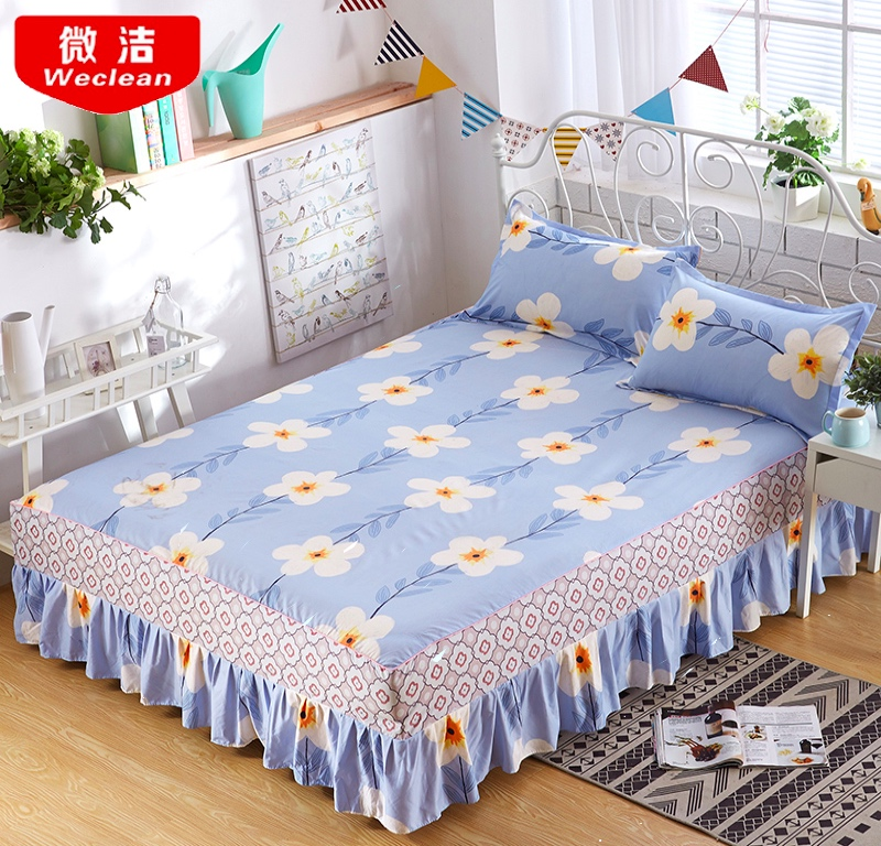 150x200cm Floral Fitted Sheet Cover Bedspread Bedroom Bed Cover Skirt Housewarming Bedcover Single Full Queen Bedspread in Bed Skirt from Home Garden