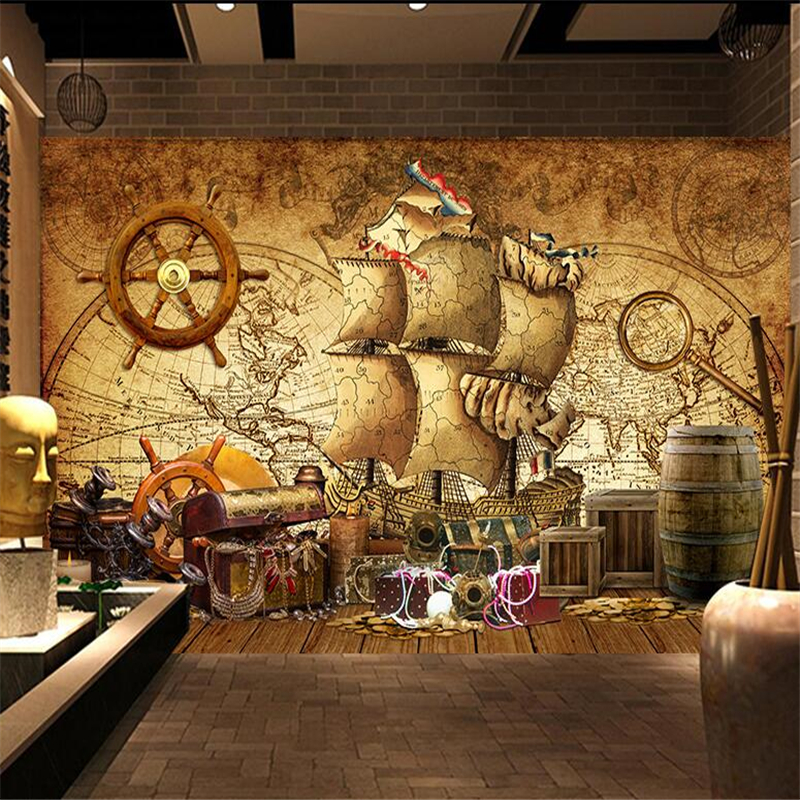 beibehang papel de parede Custom wallpaper Nostalgic Vintage Nautical Map pirate mural background wall adesivo de parede in Wallpapers from Home Improvement