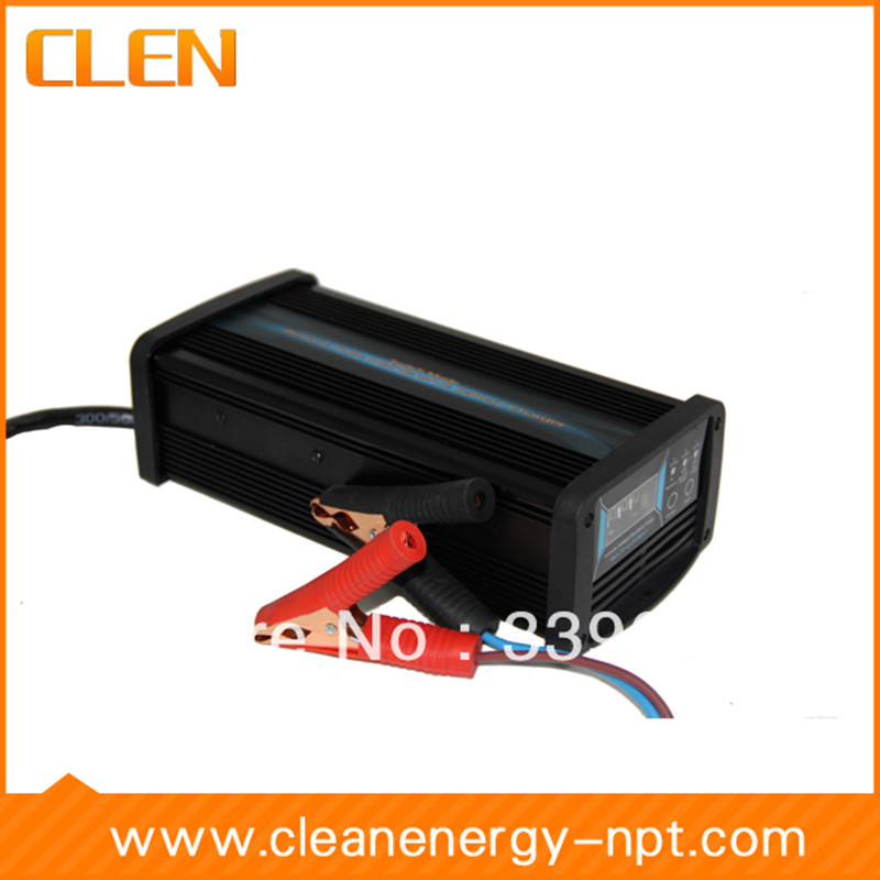 CLEN 12V 2A 4A 8A 7-stage smart Battery Charger, GEL WET AGM Battery type & Charge current selectable, Car battery charger