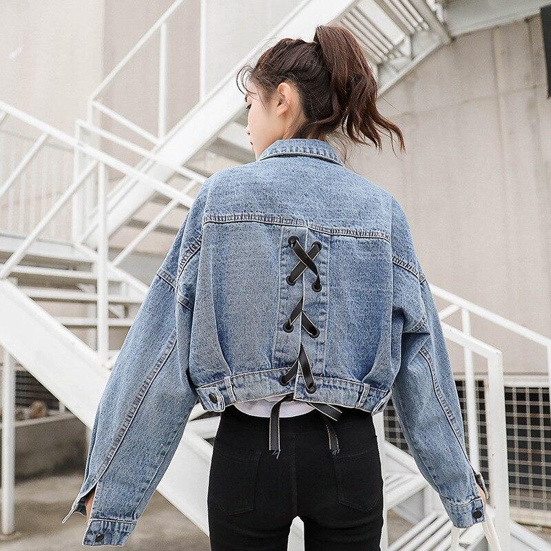 a8e97fce063 Женское базовое пальто осень-весна женская джинсовая куртка 2019 Винтажная с  длинным рукавом тонкая женская