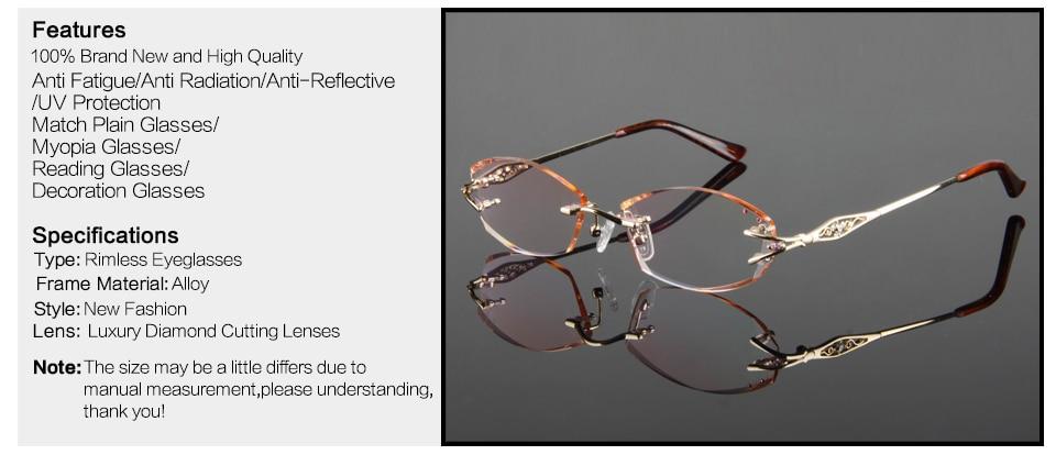 bb621d8bc98 HTB18ZdGPFXXXXbzXpXXq6xXFXXXz Luxury Eyeglasses Rimless Women Myopia  Prescription Eye Glasses Diopter Rhinestone High Clear Lenses Gold Ladies