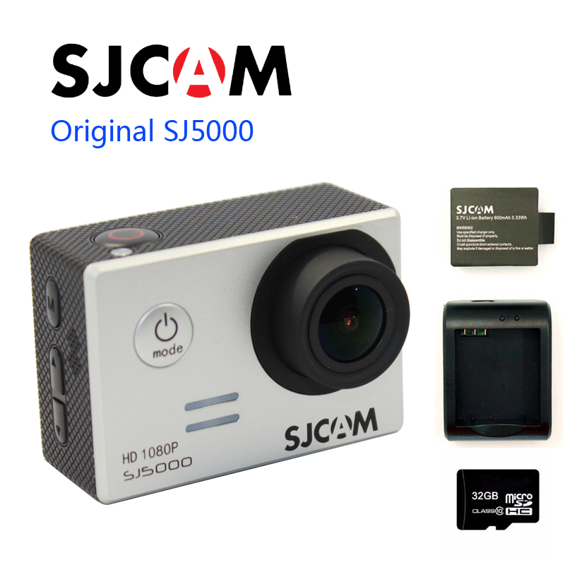 sjcam sj5000 plus ambarella a7ls75 sport camera Free shipping!!Original SJCAM SJ5000  Sport Action Camera +Extra 1pcs battery+Extra Battery Charger+ 32GB TF Card