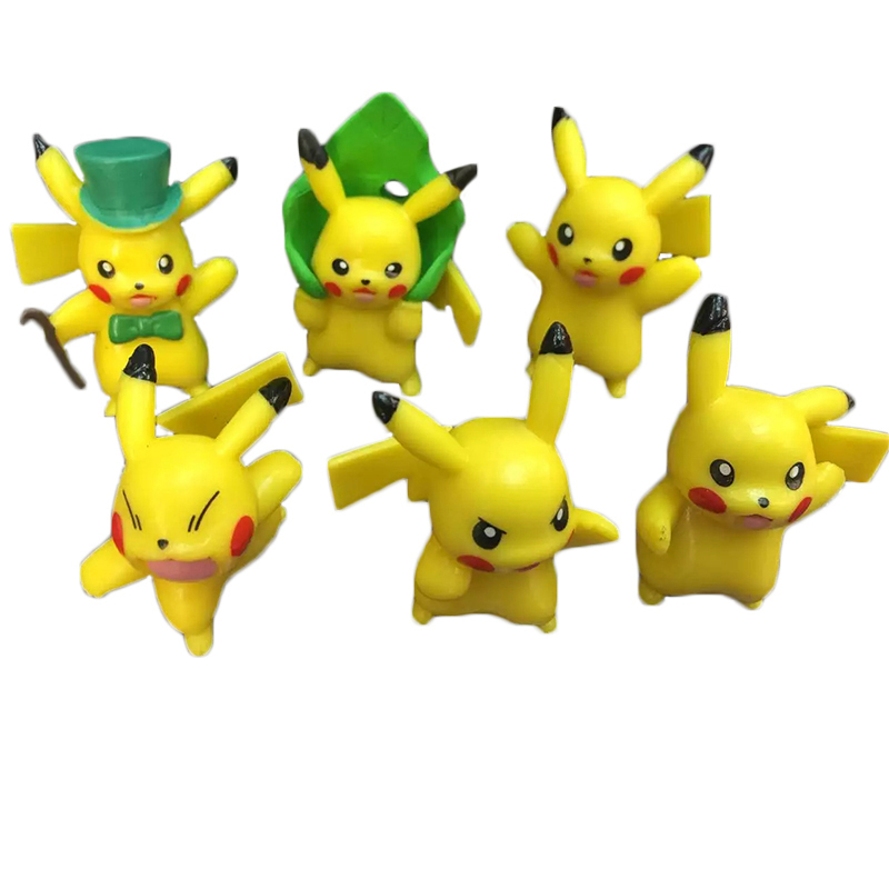 6pcs/set Six <font><b>Styles</b></font> Anime <font><b>Poke</b></font> <font><b>Pikachu</b></font> Mini <font><b>Action</b></font> <font><b>Figure</b></font> Doll <font><b>PVC</b></font> Collections Toys Kawaii <font><b>Cartoon</b></font> <font><b>Pikachu</b></font> <font><b>Figures</b></font> lot
