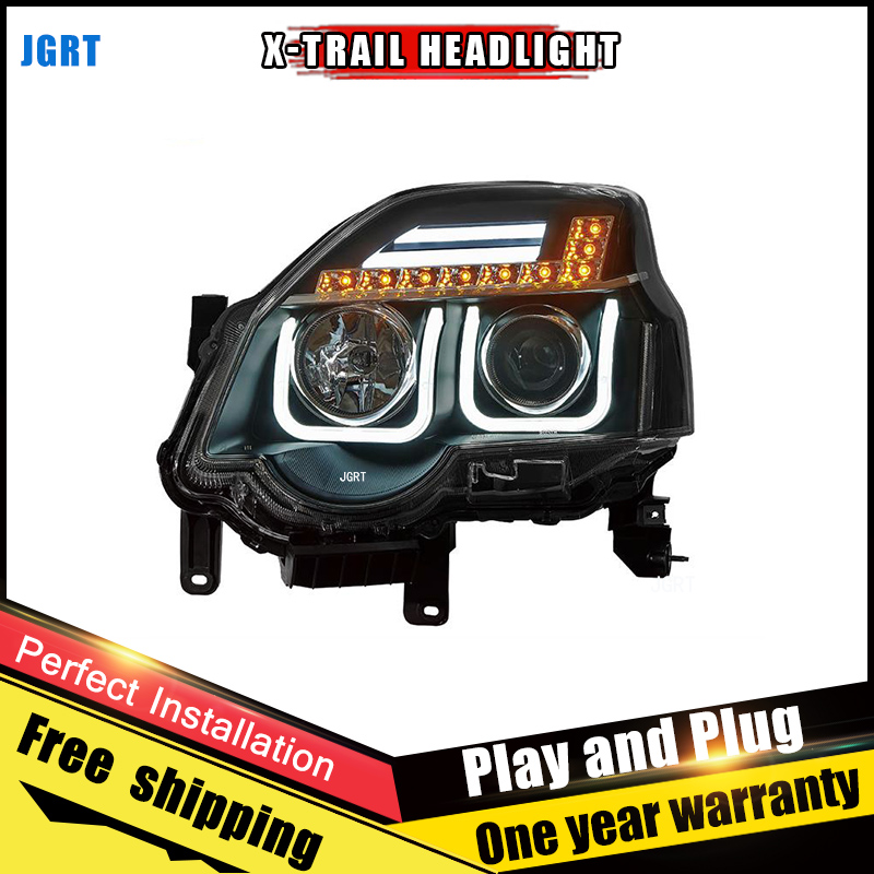 Car Style LED headlights for Nissan X-Trail 2012-2013 for X-Trail head lamp LED DRL Lens Double Beam H7 HID Xenon bi xenon lens hireno headlamp for 2013 2015 nissan tiida headlight assembly led drl angel lens double beam hid xenon 2pcs