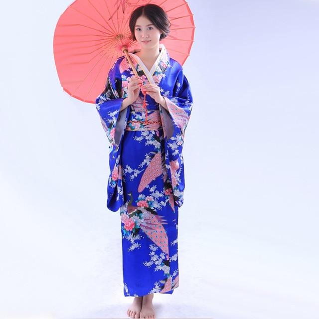 4939eaf5030e Mode Traditionnel Japonais Kimono Femmes Floral Yukata Performance Cosplay  Costume Obi Ceinture Robes